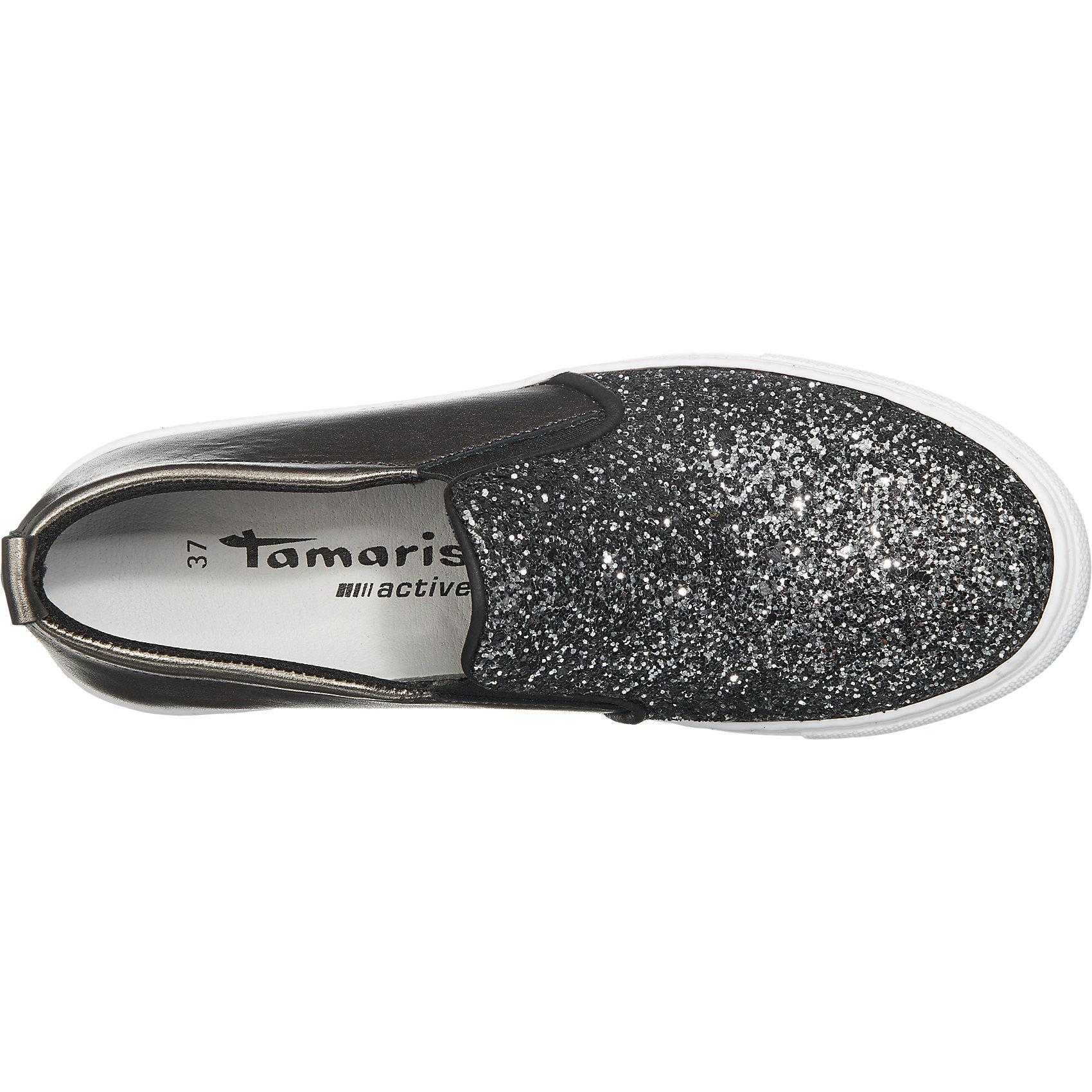 Details zu Neu Tamaris Esbelta Slipper 5748257 für Damen schwarz kombi silber