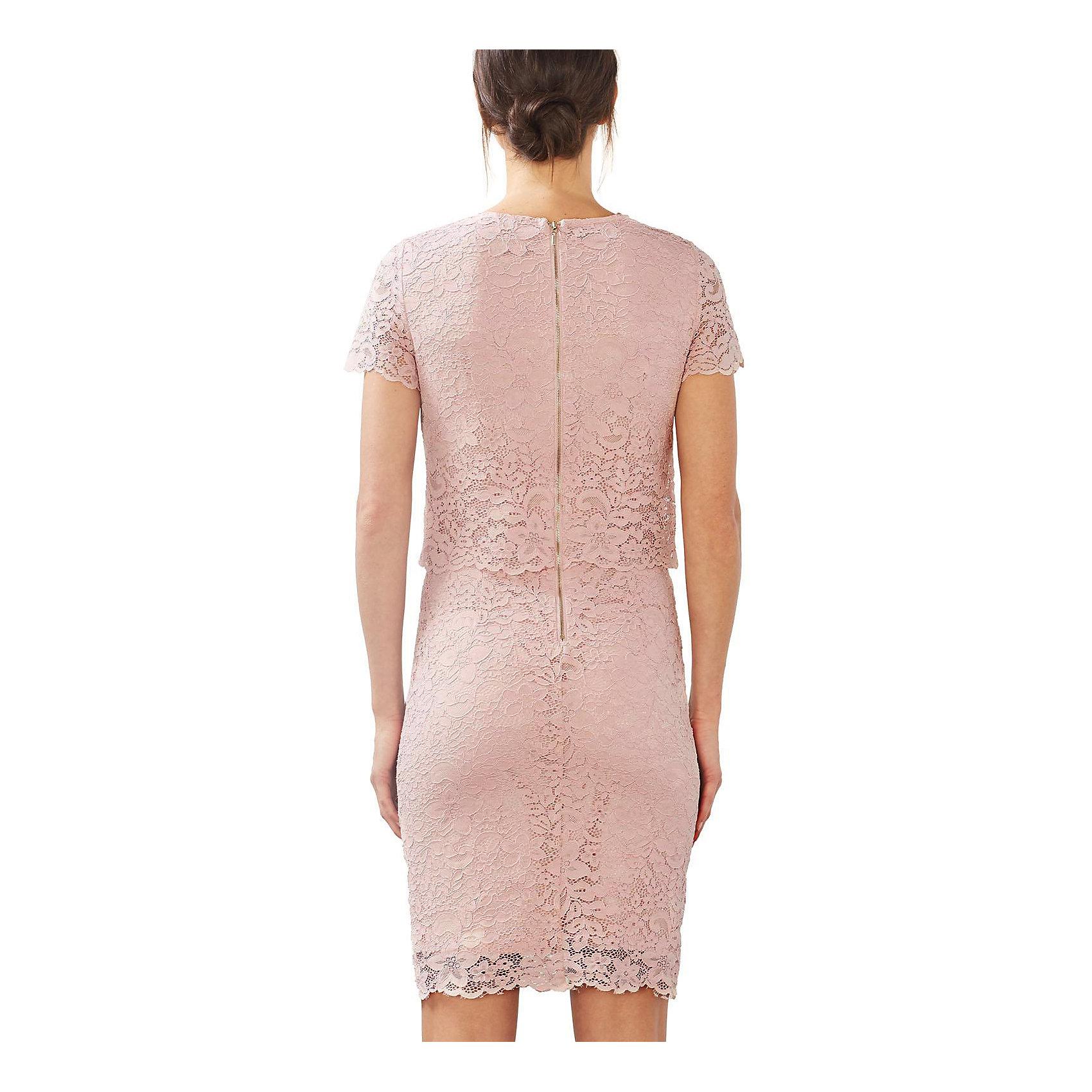 68f91fa8ae32 Neu ESPRIT collection Spitzenkleid 5635672 für Damen rosa   eBay