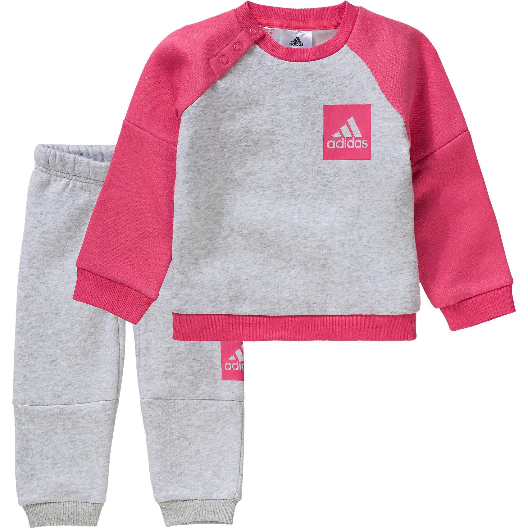 Details zu Neu adidas Performance Baby Jogginganzug 6063259 für Mädchen grau
