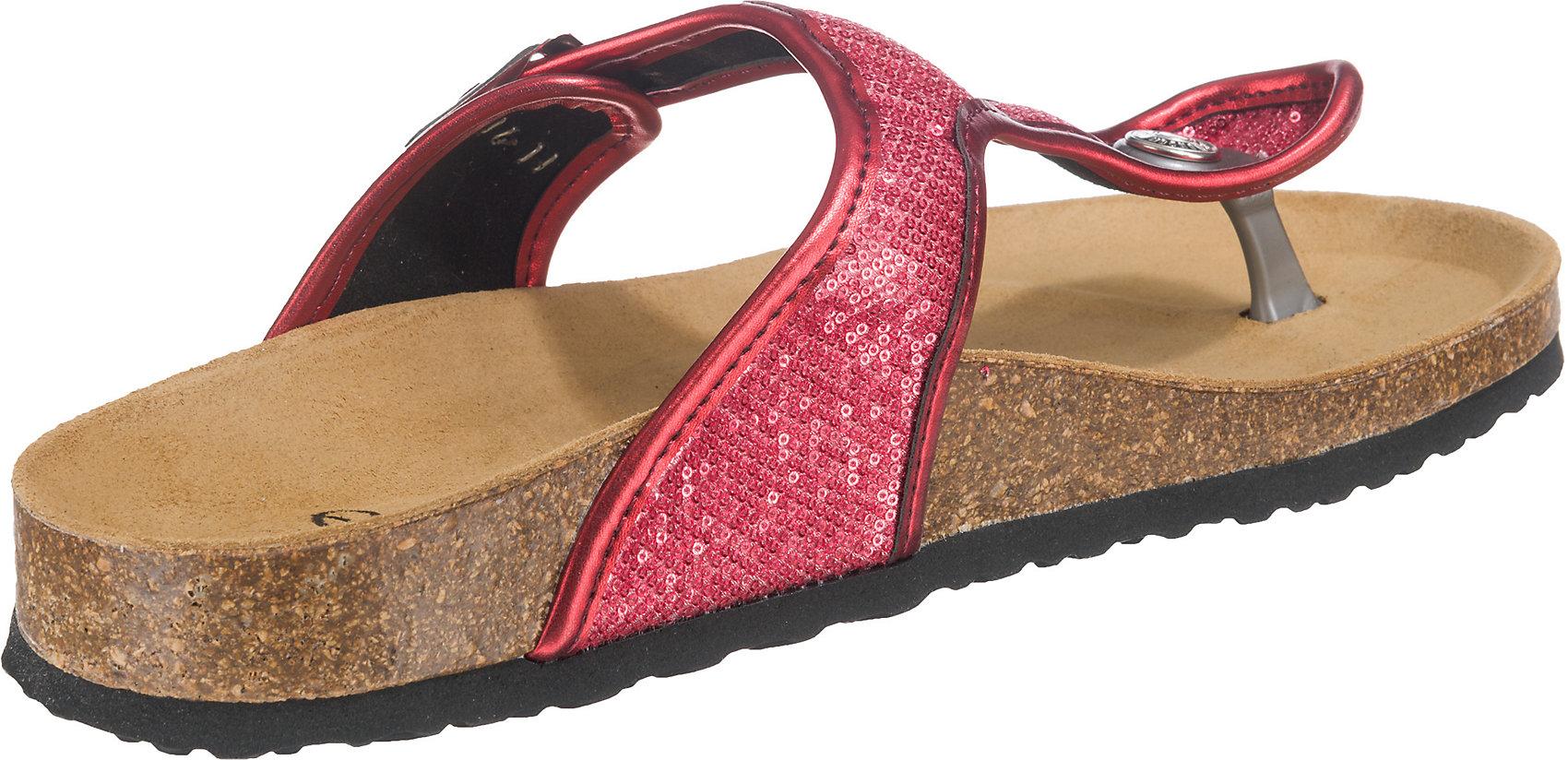 Details zu Neu Pepe Jeans OBAN SEQUINS Pantoletten 7208179 für Damen rot silber