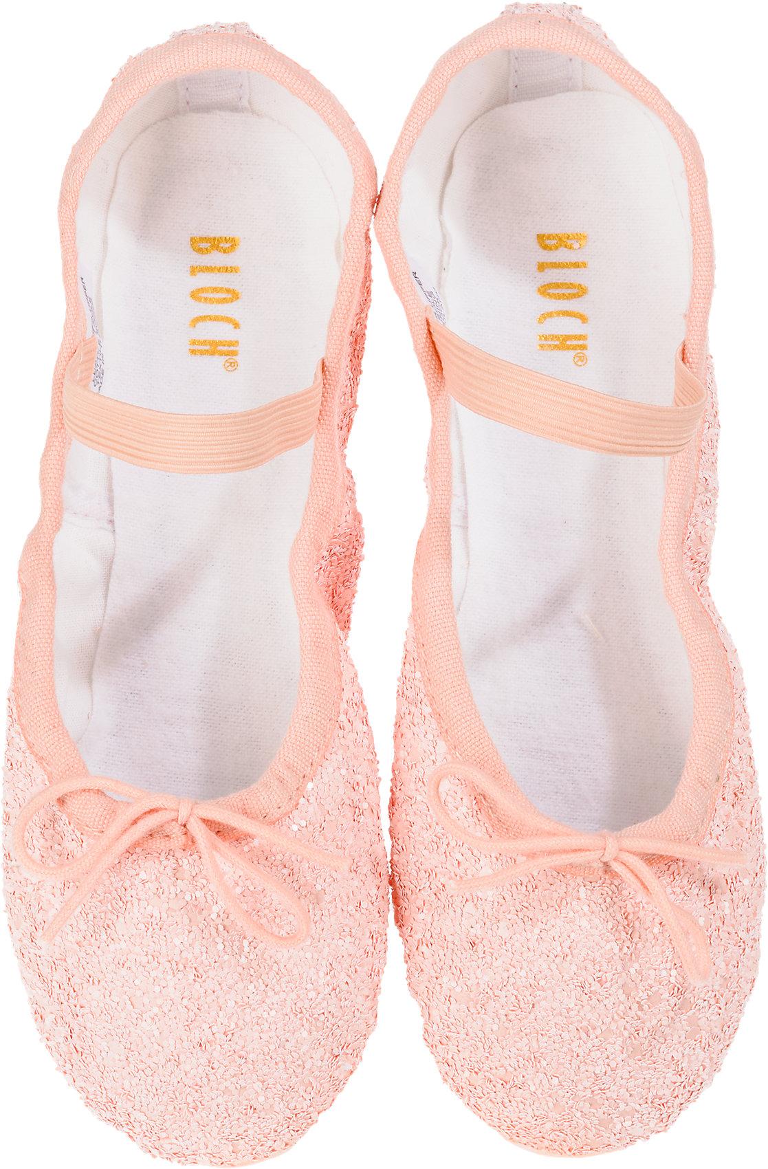 Details zu Neu BLOCH Kinder Glitzer Ballettschuhe 7210587 für Mädchen rosa weiß