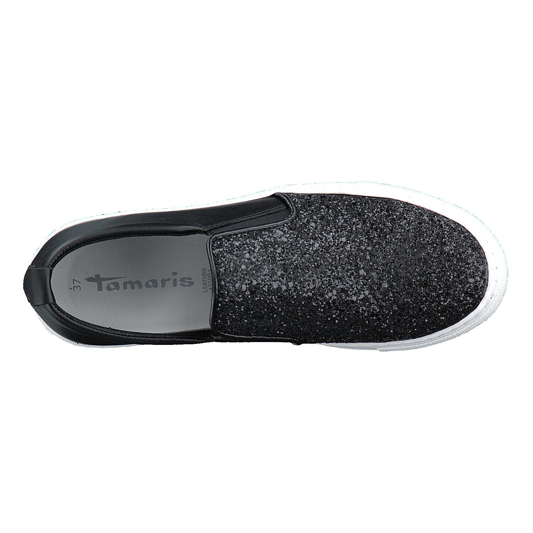 Details zu Neu Tamaris Sportliche Slipper 7346966 für Damen schwarz silber