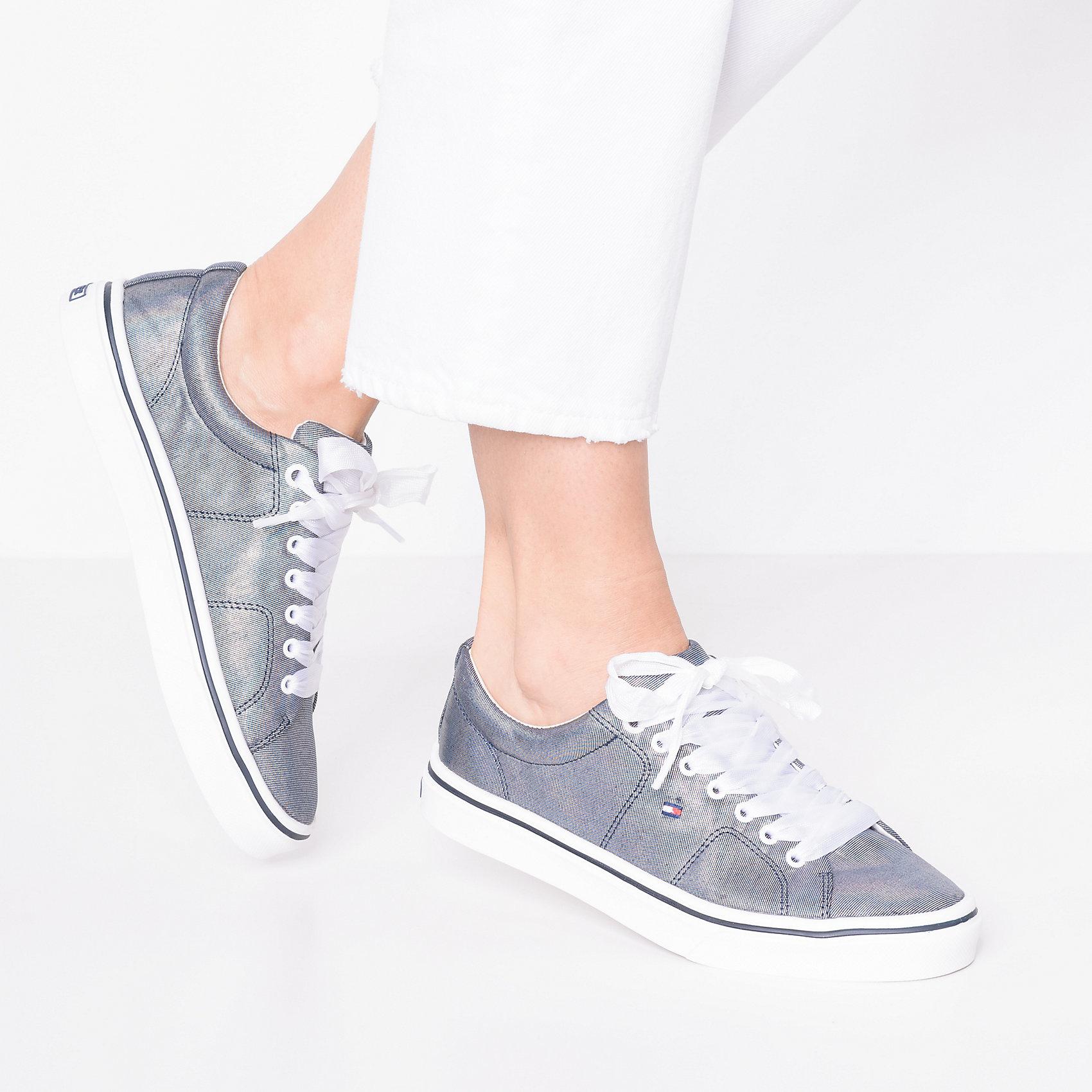 Neu TOMMY HILFIGER METALLIC LIGHT WEIGHT LACE UP Sneakers Low 8005106 für Damen