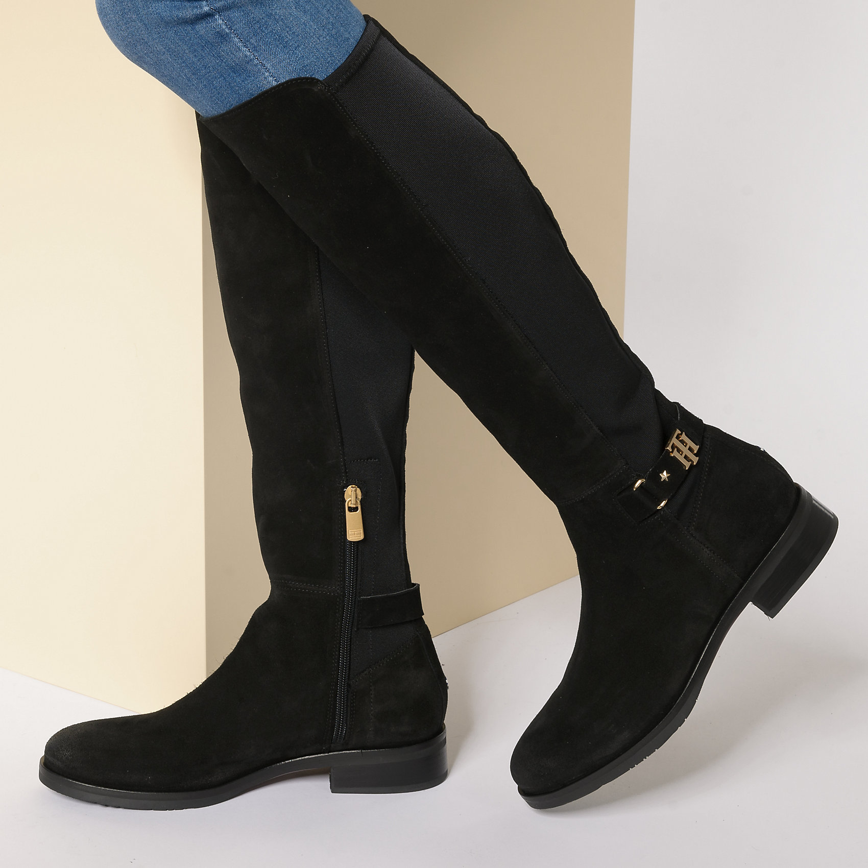 tommy hilfiger buckle high boot stretch