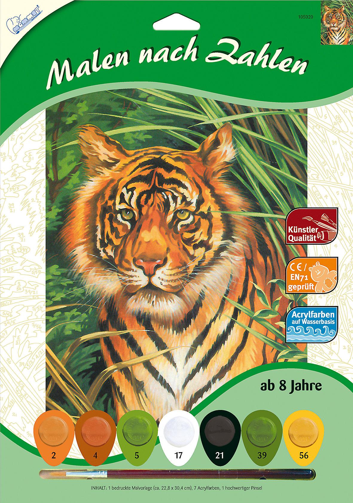 neu mammut spiel und geschenk malen nach zahlen  tiger